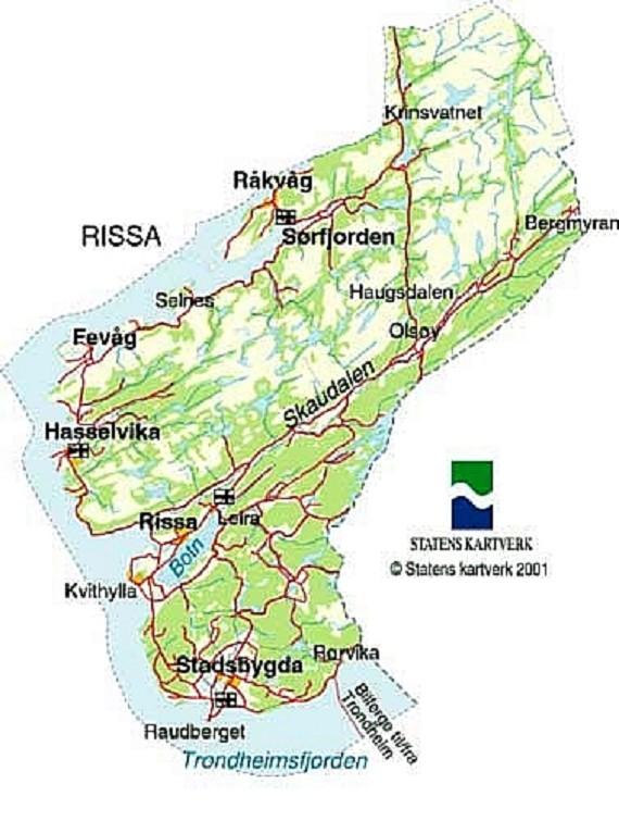 kart over midtre gauldal